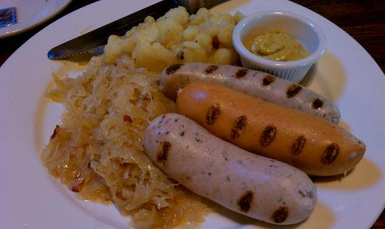 Black Forest Brew Haus: Plowman's Plattter: Sauerkraut, German potato salad, and 3 wursts