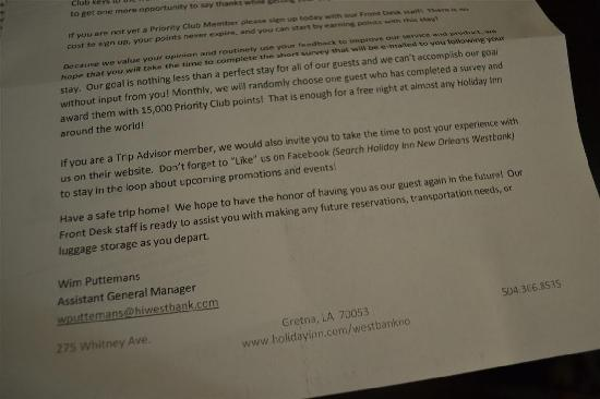 Holiday Inn New Orleans West Bank Tower: They asked me to write a review on TripAdvisor! Maybe they should have better service!