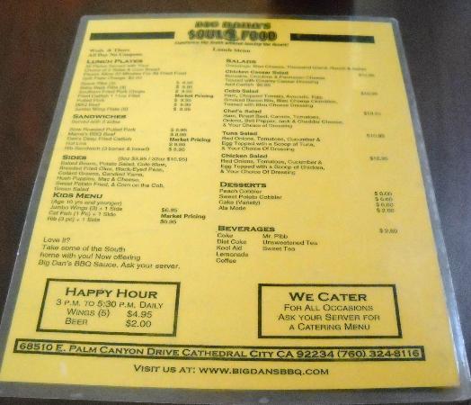 Big Mama's: the menu