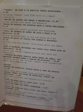 Momo : Dinner Menu - April 2012