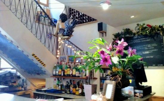 """The """"Main Bar"""" at Las Olas Bistro - the stairs lead to an area for large groups"""