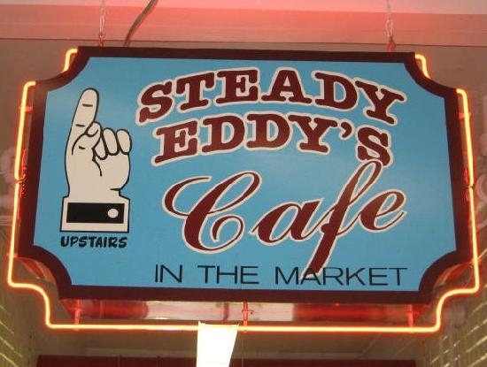 Steady Eddy's Cafe: Sign downstairs