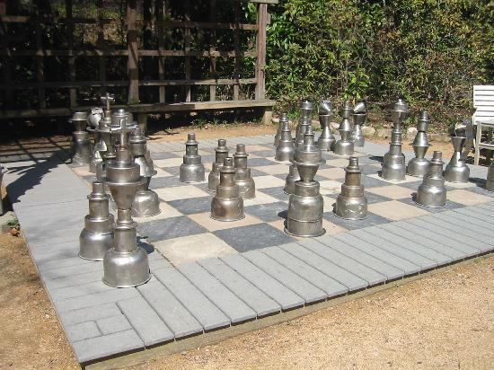 Chapel Hill, NC: King sized chess set in the gardens