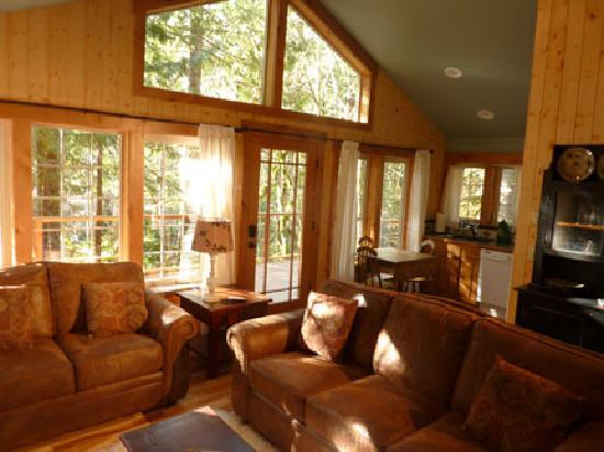 Copper Creek Inn: Muir Cabin - Living room with windows out to the forest