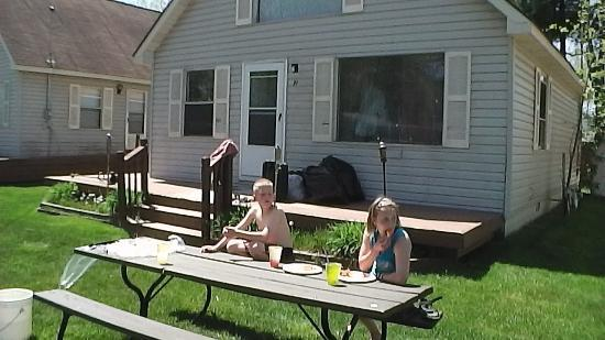 American Oak Resort: Son and Daughter eating lunch outside of our Chalat.