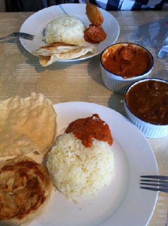 Spicy Greens Restaurant: butter chicken and lamb madras