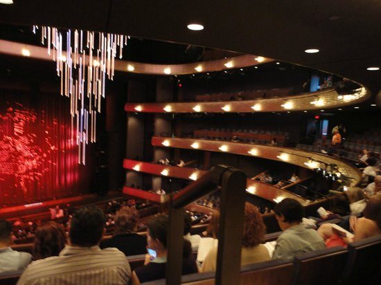 Winspear Opera House :                   View from Mezzanine section of stage and LED chandelier