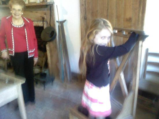"Hope Farm: With Miss Ethyl in the background, Katherine tries out the ""time out"" chair."