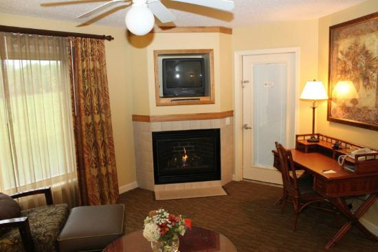 Holiday Inn Club Vacations at Lake Geneva Resort: Gas Fireplace and TV