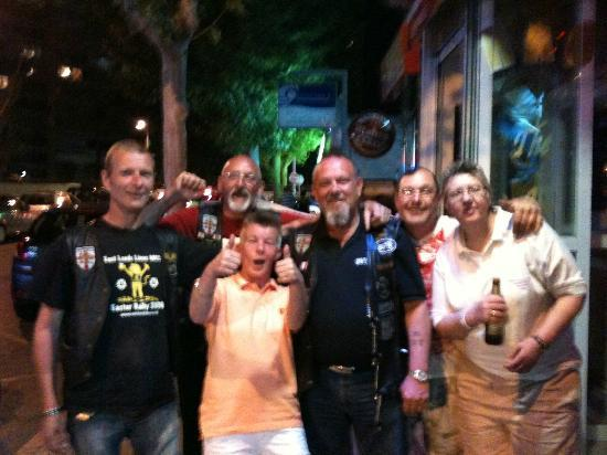 Las Torres Apartments: group from leeds outside Idols bar