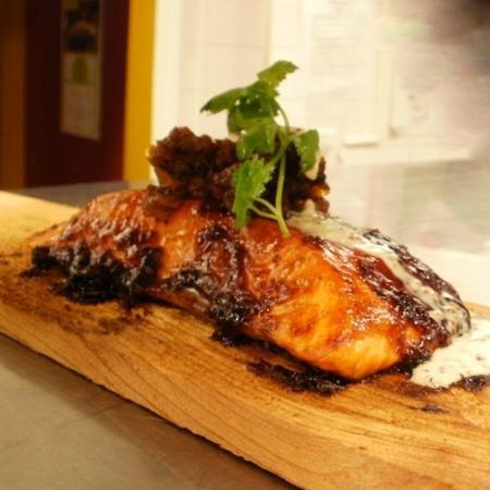 Elliott's on Linden: Plank-Roasted Chipotle Maple Glazed Salmon