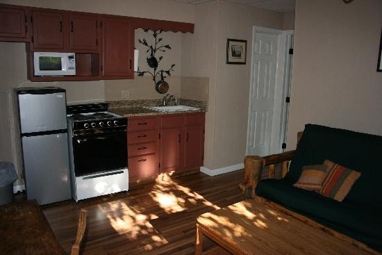 San Juan Chalet: The cabin kitchen and den.