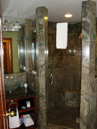Holualoa Inn: bathroom and shower in plumeria suite