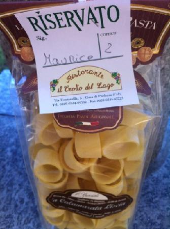 Porlezza, Italien: zakje pasta als reservering