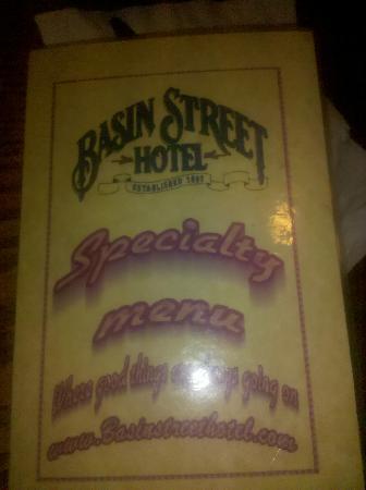Basin Street: menu cover