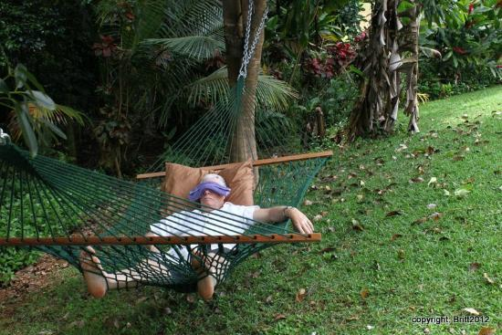 Kauai Country Inn: does this look like a guy on holiday or what!? Two hammocks in the huge garden.