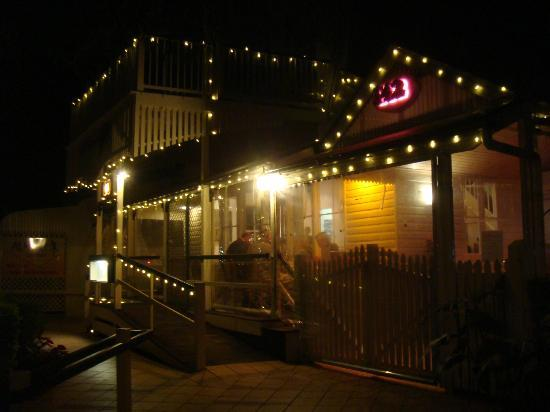 Wild Rocket at Misty's Micro Brewery: restaurant entrance at night