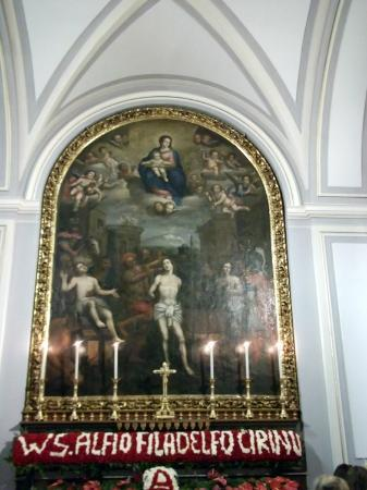 Trecastagni, Włochy: Mural of the three sainted brothers
