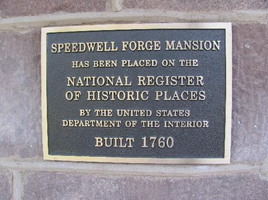 Speedwell Forge B&B : historic sign