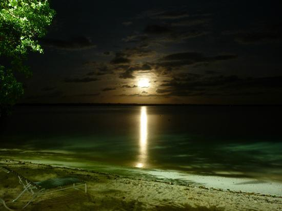 Barrier Beach Resort: Moon over the water taken from the outside dining balcony