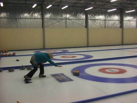 Indoor Curling Rink: Putting my all into it