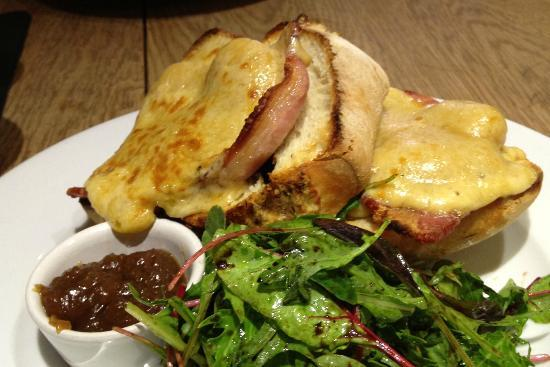 Mannion And Co: Yorkshire Rarebit with Bacon on Large house made bun