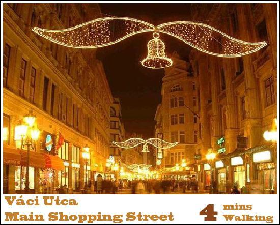 Main shopping street is 4 mins away from Trendy Budapest B&B Hostel-Bed and Breakfast