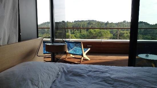 Hotel Lone: Blick vom Zimmer auf den Balkon und die Pinien