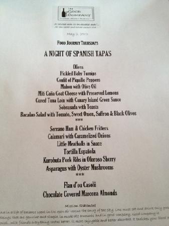 "In Good Company: Spanish ""Food Journey Thursday"" menu"