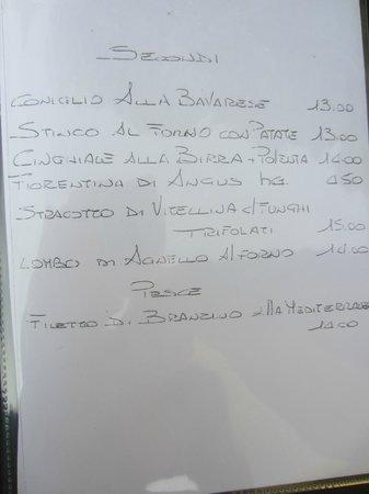 Ristorante e B&B Il Falchetto: part of the menu