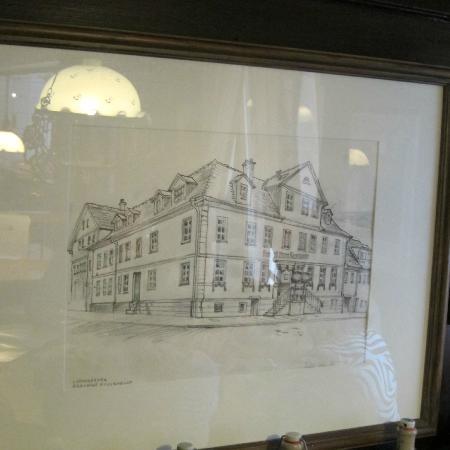 Brauerei zum Rossknecht: Framed sketch of building