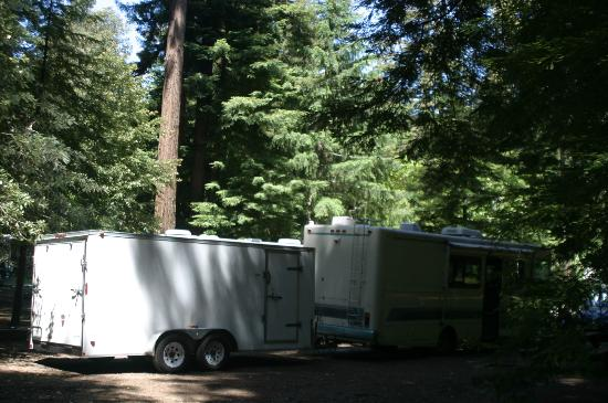 Redwoods River Resort & Campground: Surrounded by Redwoods my 26 ft Motorhome & 16 Trailer fit with room to spare