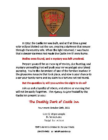 The Castle Inn: Murder Mystery nights available !!