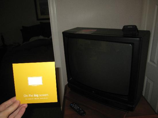 Hyatt House San Diego Sorrento Mesa: The only flat screen TV was in this promo card
