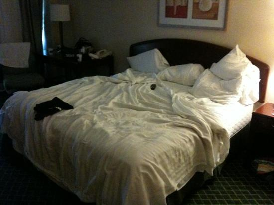 Fairfield Inn & Suites Parsippany: king bed (pardon the mess, lol)