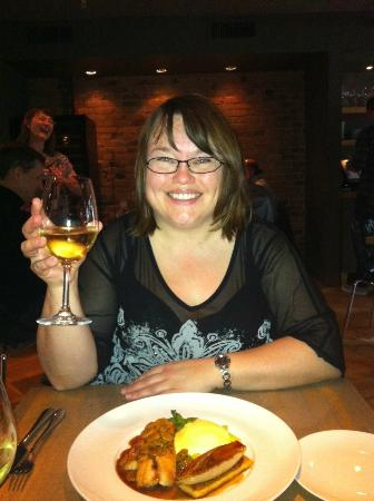 L'Abattoir Restaurant: Me with my fish main and delicious wine at L'abattoir