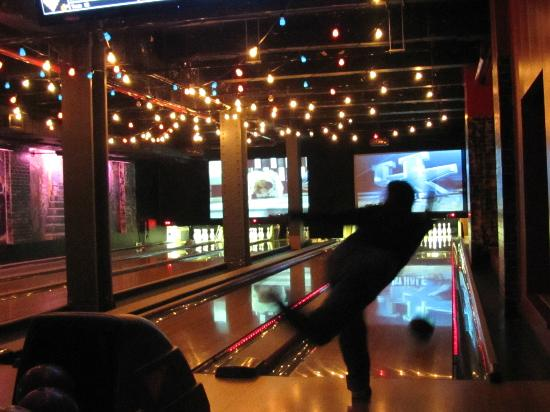 Bowlmor Lanes Midtown : Bowling in the Coney Island Themed area.