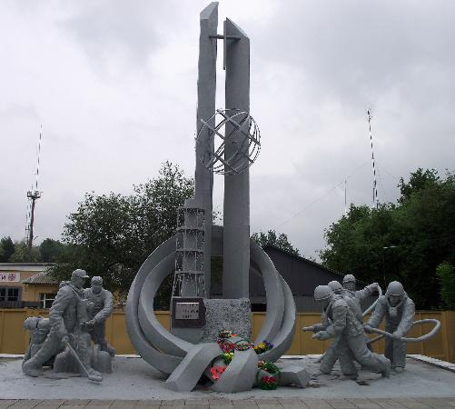 Reactor No 4: Monument to the firefighters who died fighting the disasters fire