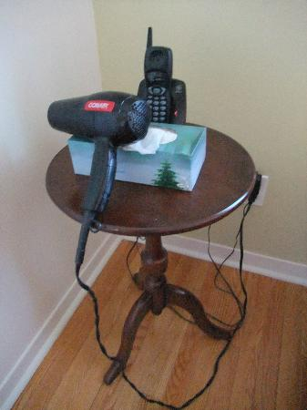 Mackenzie House Tourist Home: hairdryer left on the bed side table