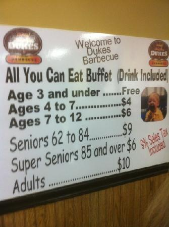 Duke's Barbeque: buffet costs
