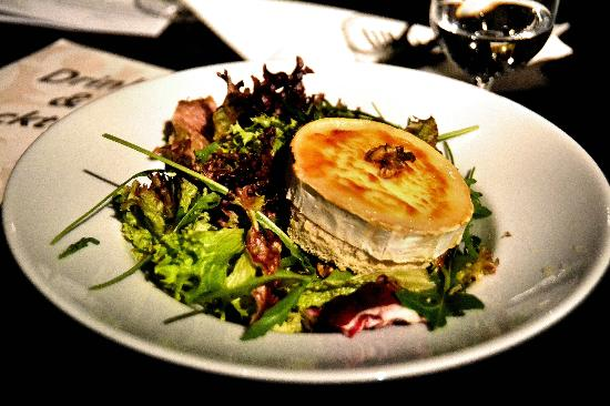 "Restaurant White Horse: Warm goat cheese (Chevre) w greens got Lisa's vote for ""Perfect."""