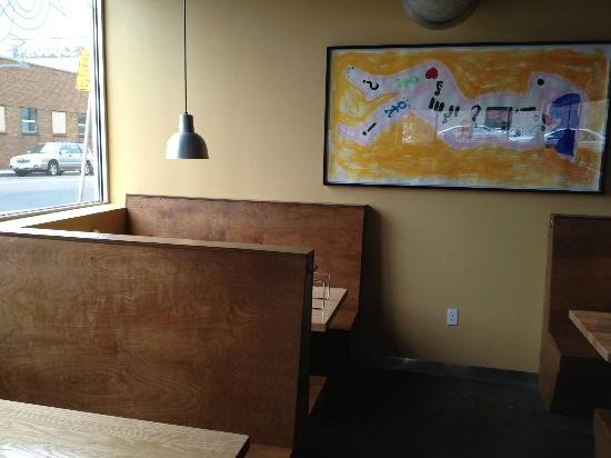 Black Sheep Coal Fired Pizza: Relaxed earth tone interior