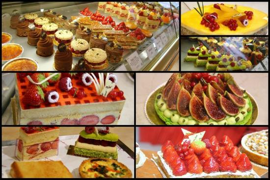 Hotel Saint Paul Rive Gauche: Some of the cakes available from nearby stores!