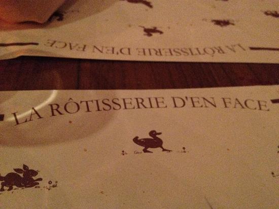 La Rotisserie d'en Face: quiet, classy restaurant