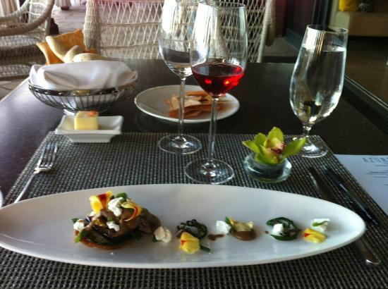 Azure Restaurant: Hamakua mushroom,basil,fern shoots,eggplant,zucchini,goat cheese/crostini,balsamic reduction, et