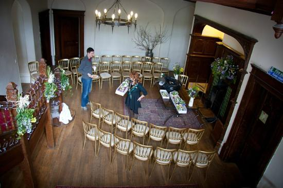 Hargate Hall: Decorating the main hall in advance of the wedding ceremony