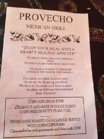 Provecho: front of menu