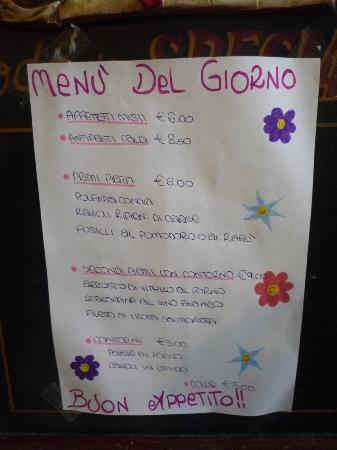 Oropa, Italia: Menù del giorno