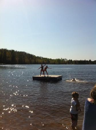 Algonquin's Edge Resort: floating dock on the water, perfect for tanning and diving off of!