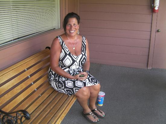 La Petite Sedona: Marcy sitting on our rear patio.